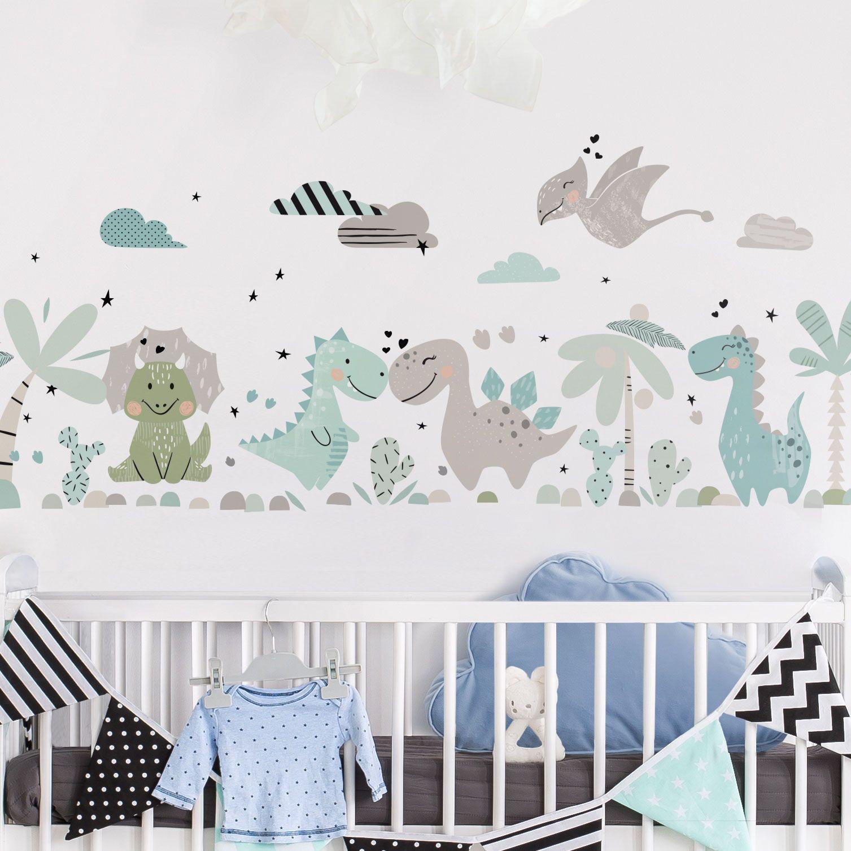 Wandtattoo Dino Set Pastell Kindergarten Wandtattoos Babyzimmer Wandgestaltung Kinder Zimmer