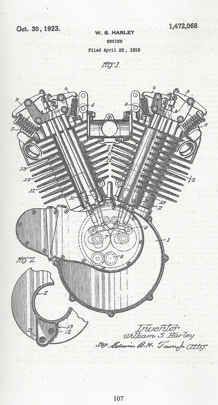 Vintage Patents Patent Diagrams Pinterest Harley Davidson Engine