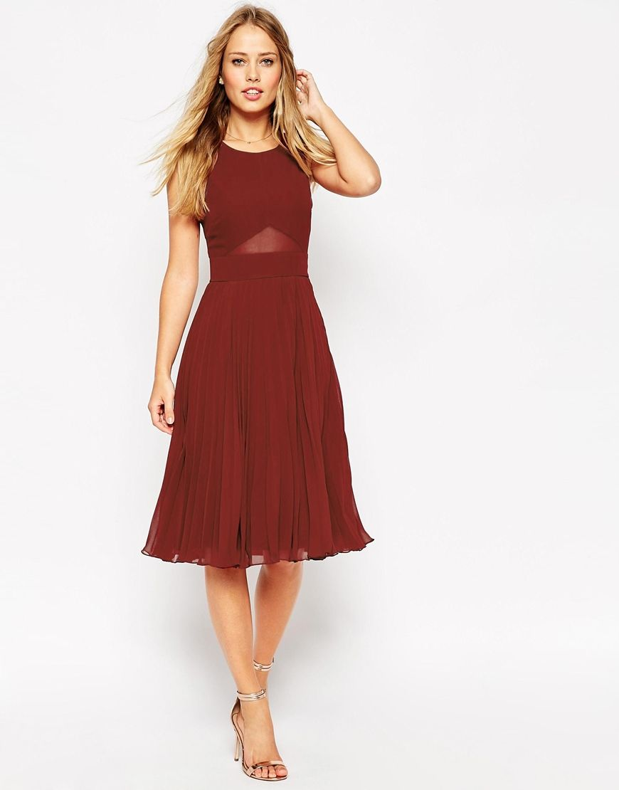 6a3e6f42801 Asos Sheer And Solid Pleated Midi Dress - ShopStyle
