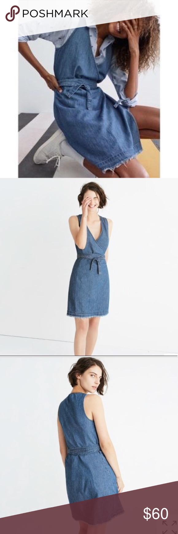7283550fcf Madewell denim raw hem wrap dress A true-blue denim take on a timeless wrap  dress. Frayed edges give it a turned-it-into-a-mini-yourself vibe.