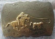Vtg Renalde Cowboy Horse Rodeo Calf Roping Nickel Silver Western Belt Buckle