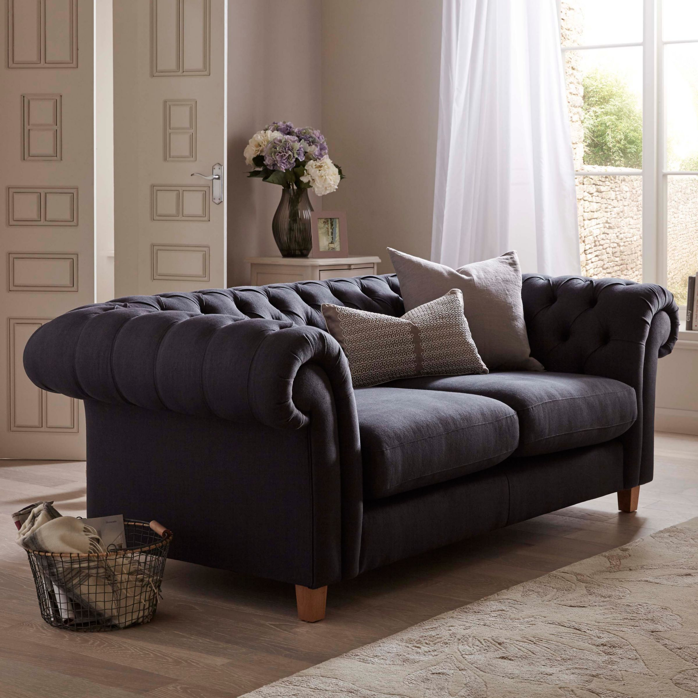 John Lewis Partners Cromwell Chesterfield Leather Large 3 Seater Sofa Light Leg Luster Cappucino Luster Cappucino Chesterfield Living Room Sofa Small Sofa