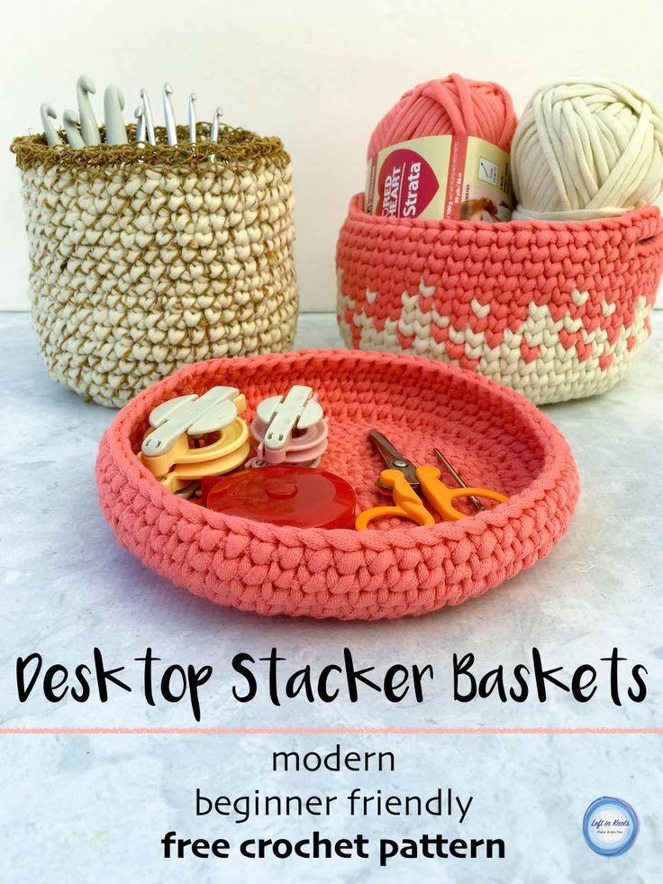 Desktop Stacker Baskets | Trapillo, Tejido y Ganchillo