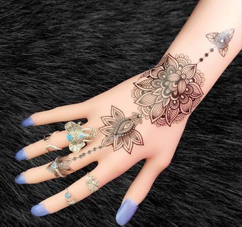 aiyana tribal lotus temporary tattoo tribal hand tattoos. Black Bedroom Furniture Sets. Home Design Ideas