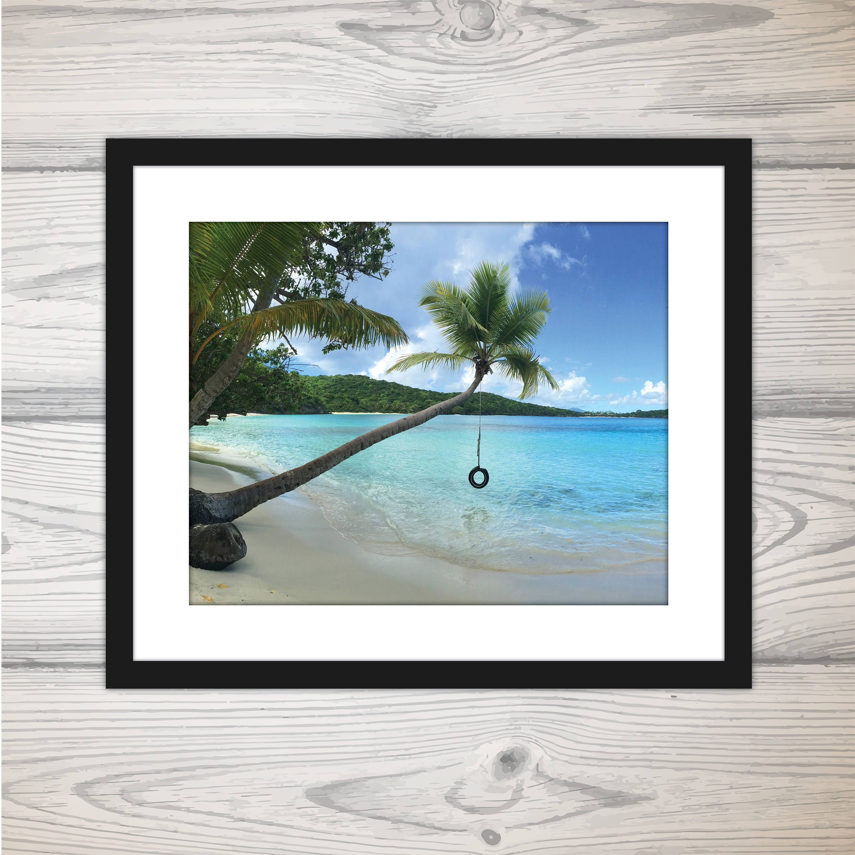 Oppenheimer Beach Tire Swing, St John USVI, Beach Photography Printed Photo | Caribbean Water | Beach Photo with Palm Tree | Tire Swing #tireswing