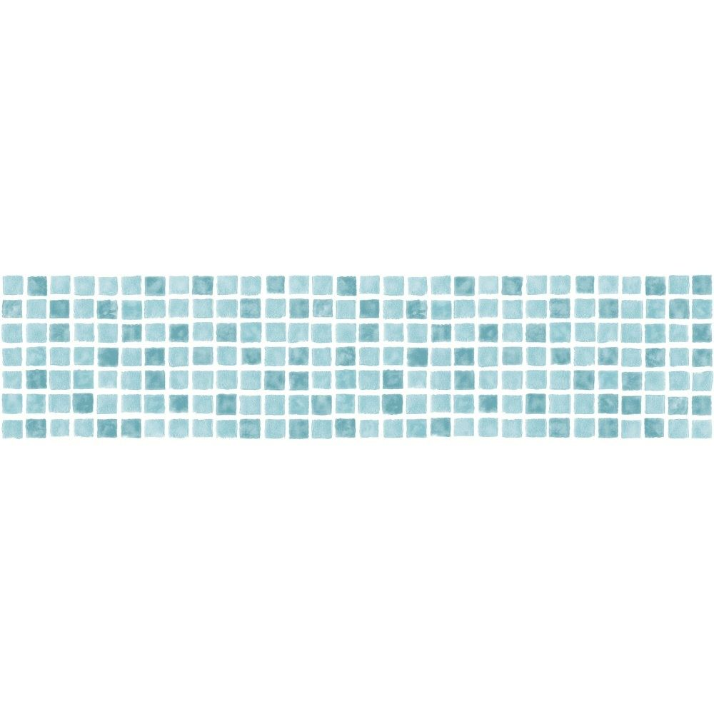 fine decor ceramica mosaic tile self adhesive border aqua tealfine decor ceramica mosaic tile self adhesive border aqua teal white (fdb50035) wallpaper borders from i love wallpaper uk