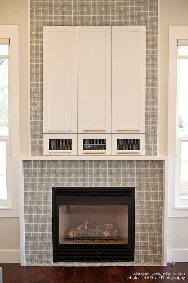 Fireplace Tiled In Tranquilo Light Grey Shiny Matte Gl