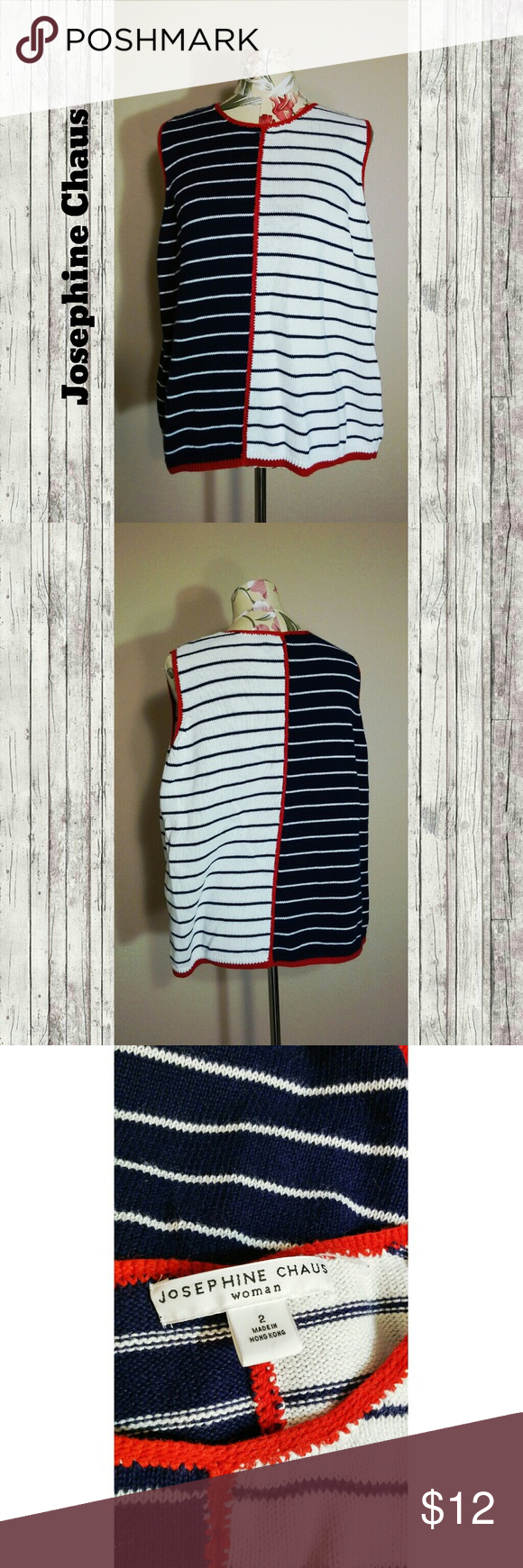 SplitColor Sweater A cute split color striped sweater with white, navy, and red. Tags: casual warm nautical Josephine Chaus Sweaters