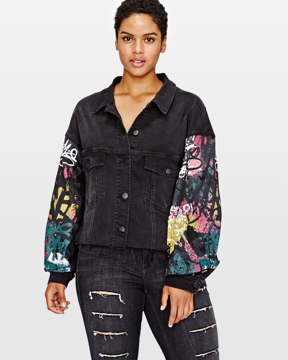 99ccbf3047971 L L Cropped Denim Jacket with Graffiti Print