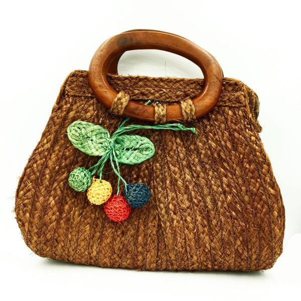 Vintage woven handbags with wooden handles and woven staw cherries. ($45) ❤ liked on Polyvore featuring bags, handbags, vintage bags, woven handbags, hand woven bags, wood handle purse and woven purses