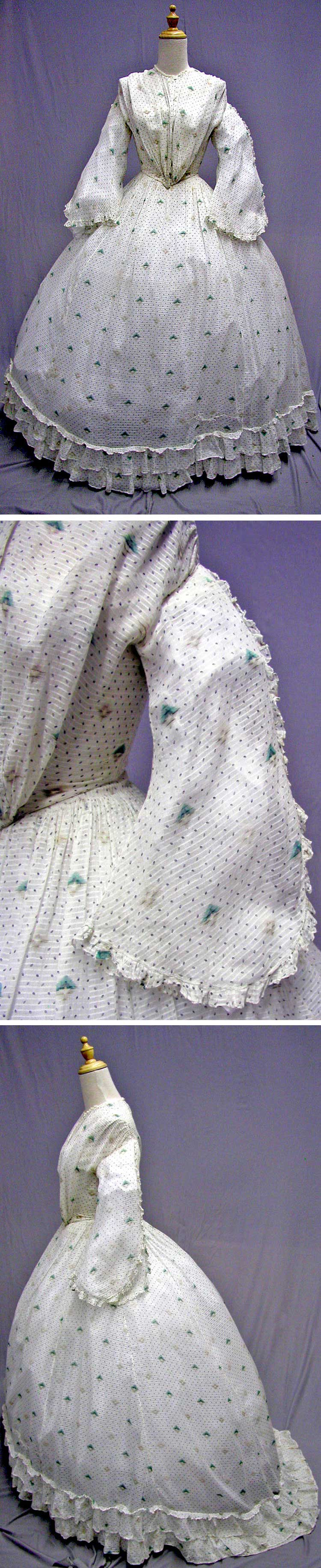 Summer day dress, 1865. Sheer cotton print. svpmeow1/ebay