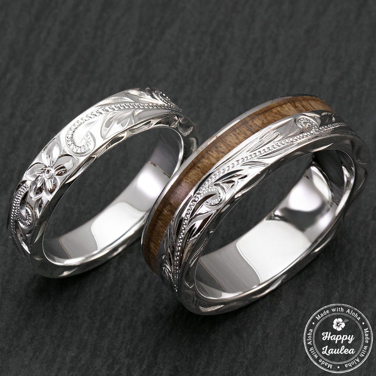 Sterling silver hawaiian jewelry couplewedding ring set with koa