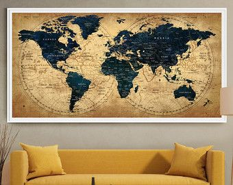 Push pin travel map wall art print extra large by fineartcenter push pin travel map wall art print extra large by fineartcenter gumiabroncs Images
