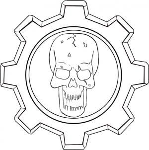 How To Draw Gears Of War Skull Logo By Dawn Gears Of War Skull Logo Drawings