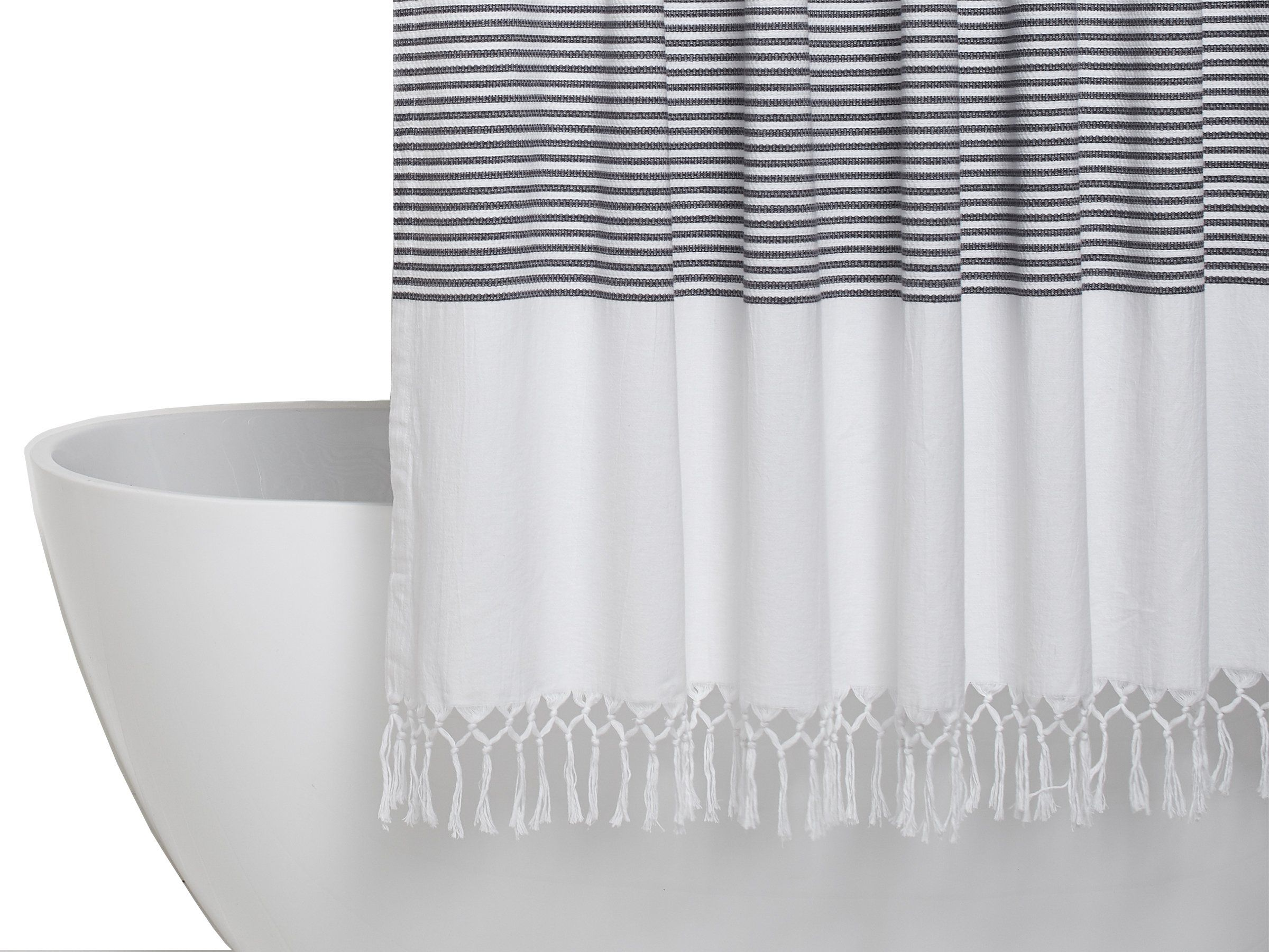 Parachute Home Turkish Shower Curtain In White And Grey