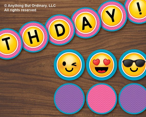 Emoji Banner Printable Girls Birthday DIY Emoticon Circle INSTANT DOWNLOAD D