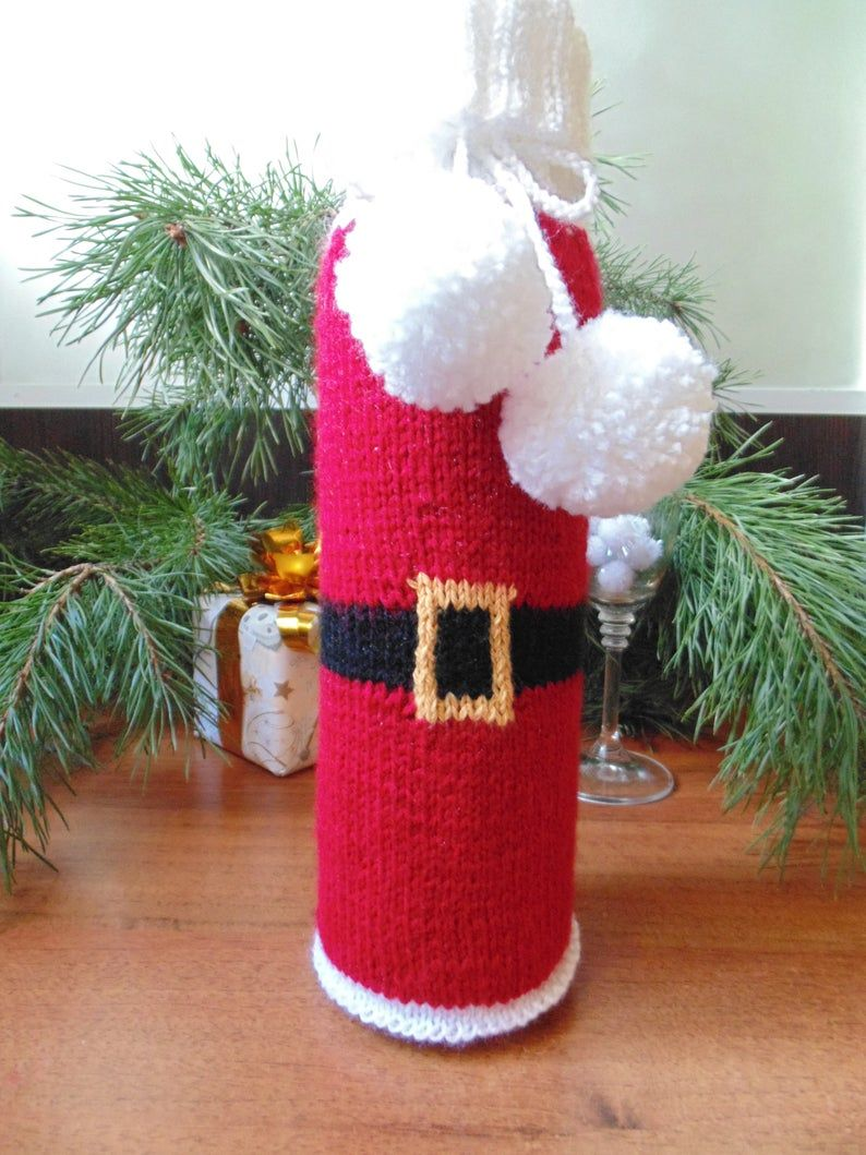 Knitted Christmas Bottle Sweater Knitted Bottle Decor Sweater Etsy In 2020 Bottles Decoration Christmas Knitting Christmas Wine Bottles