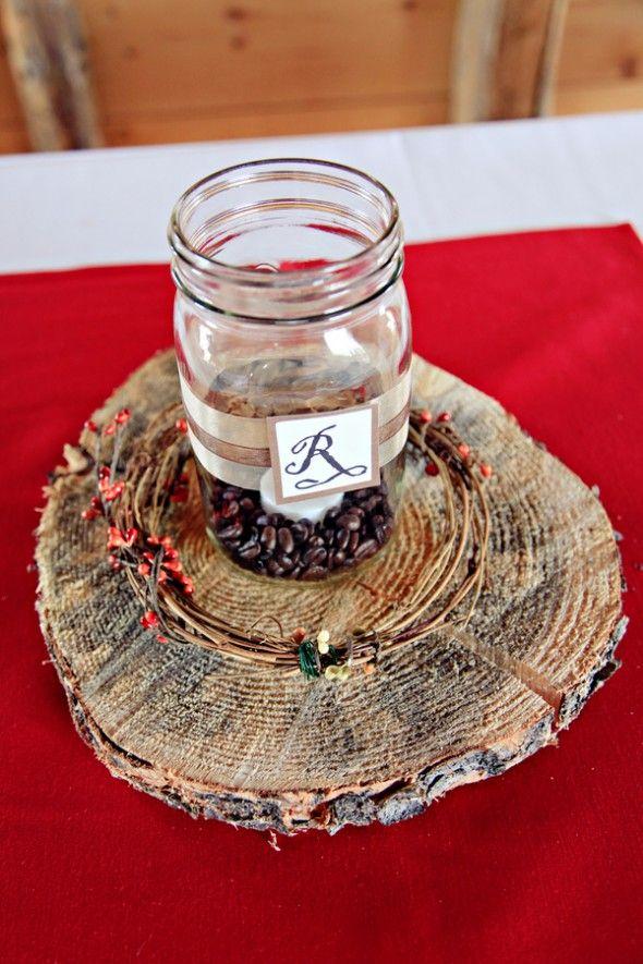 Diy barn style wedding rustic centerpieces jar candle