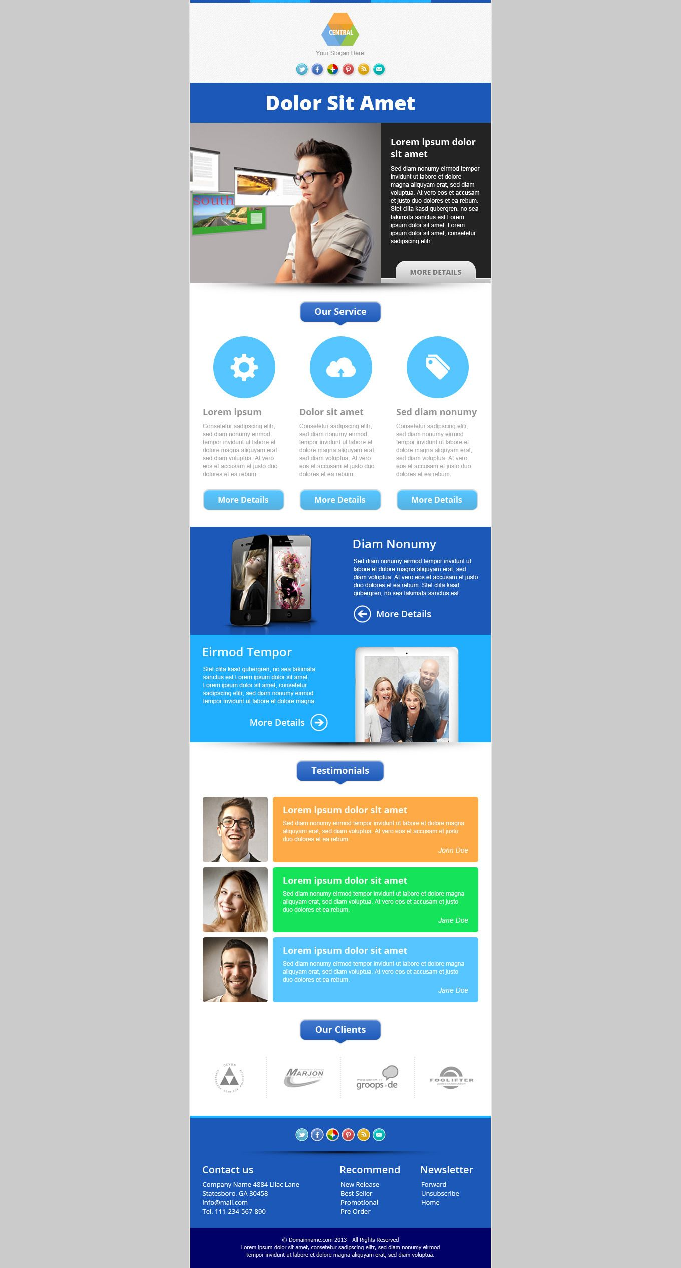 central responsive email newsletter template marketing email
