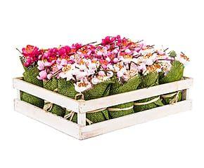 Set de 12 flores con maceta - rosa, verde y blanco