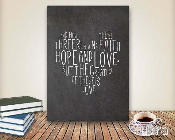 Chalkboard Art Verse Wall Printable Scripture Print Decor Instant Love Faith Hope Quote