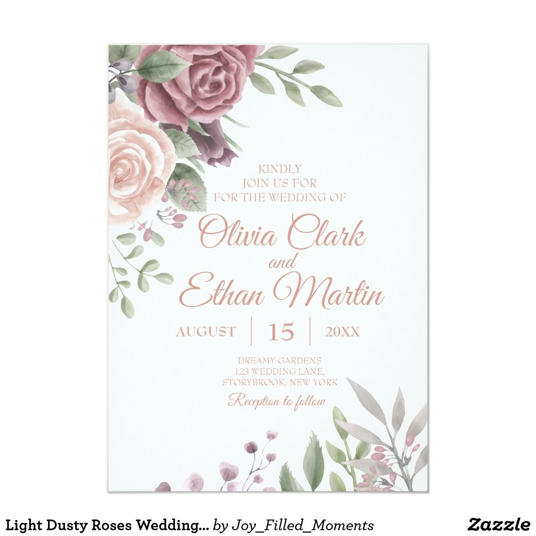 Light Dusty Roses Wedding Invitation An Elegant Watercolor Design Of Large Roses In Shad Rose Wedding Invitations Floral Wedding Invitations Dusty Rose Wedding
