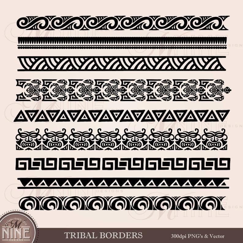 Tribal Borders Clipart Polynesian Clipart Borders Hawaiian Etsy Polynesian Tattoo Designs Tribal Tattoo Designs Tribal Band Tattoo