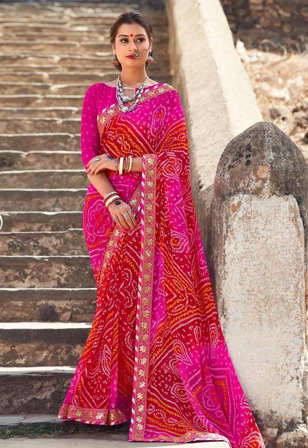 209d9fb063302 Pink tie and dye Georgette Gujarati Bandhani lace border Saree ...