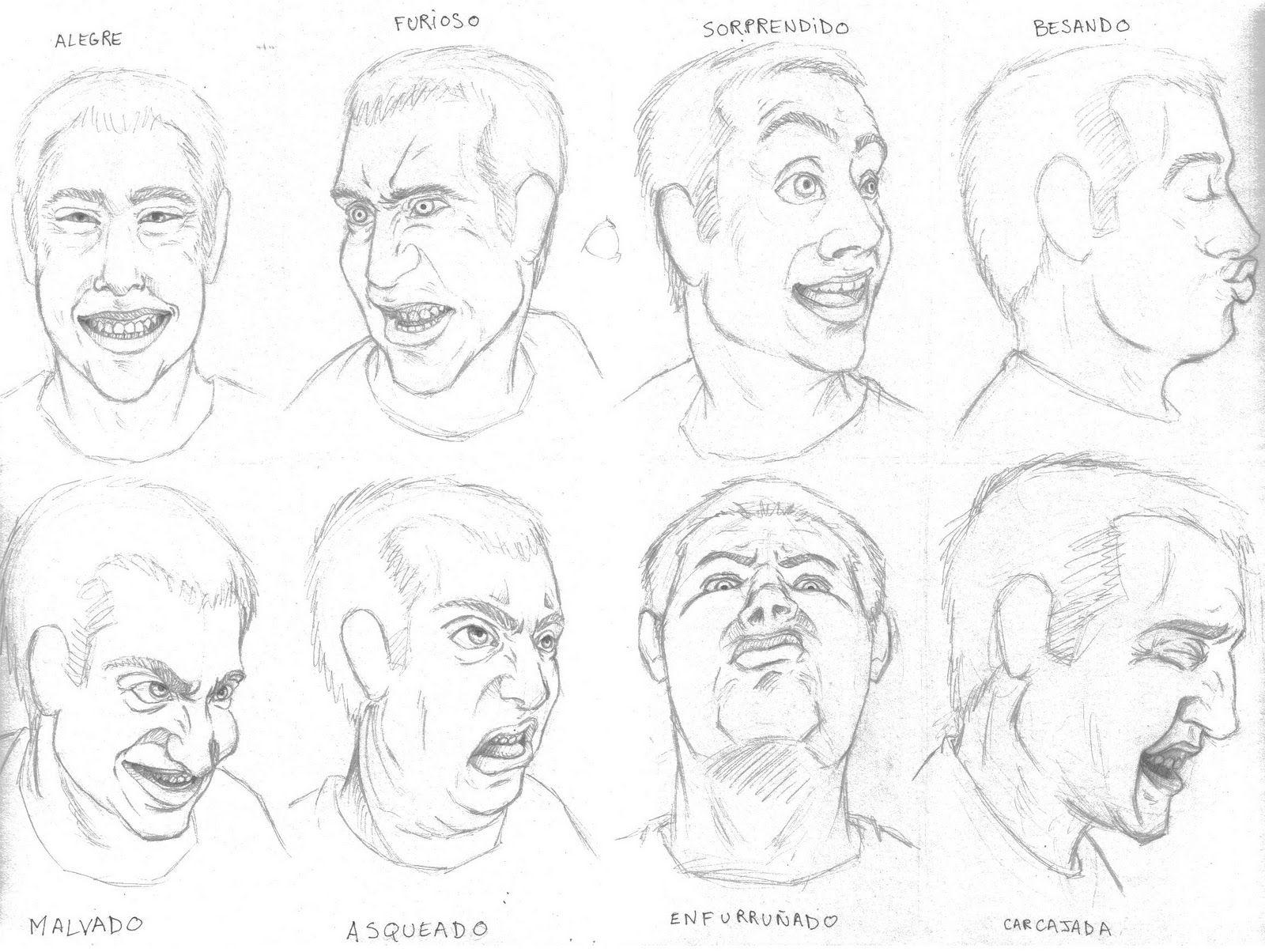 expresiones de rostros en dibujo  Buscar con Google  DIBUJO LA