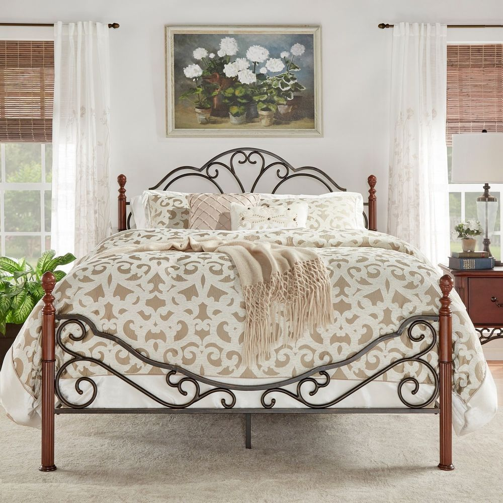 Lacy Iron Metal Bed Frame Set Scroll Queen Size Cherry/Bronze Antique  Victorian | Home