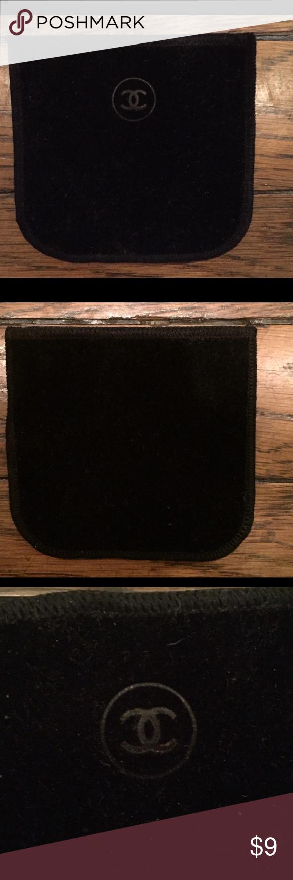 CHANEL Small Black Velvet Dust Pouch Bag Pouch bag