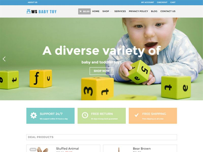 WS Toy is a free Kids #WooCommerce Shopping Cart #WordPress Theme ...