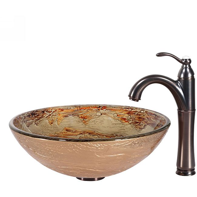 Kraus Ares Glass Vessel Sink in Gold with Riviera Faucet in Oil ...