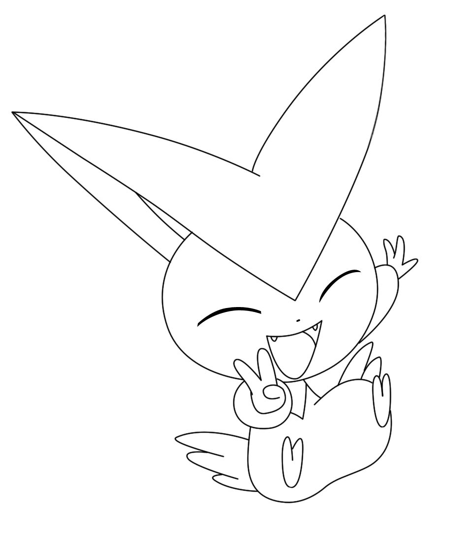 Victini Coloring Pages To Print Pokemon Bw Victini Lineart By