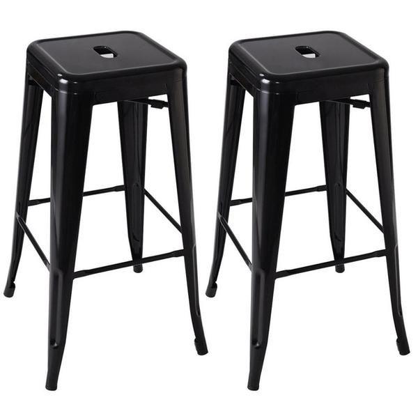 Set Of 2 Black Metal Steel Bar Stools Patio Furniture Metal
