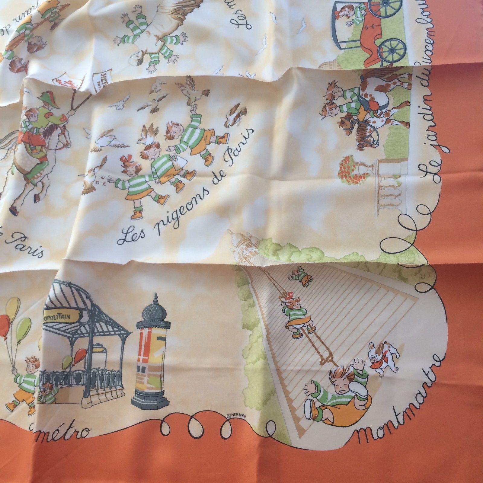 Carré Hermès LES Triplés Orange Silk Scarf | eBay