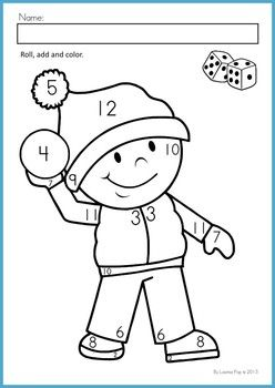 winter math worksheets activities no prep - Color Number Winter Worksheets