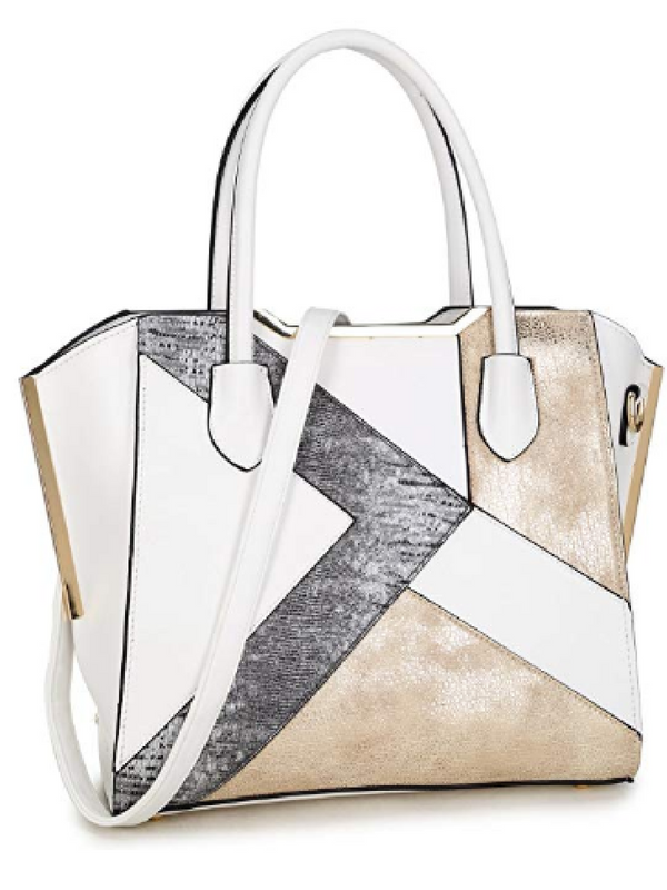 MKP Collection Satchel with Semi Metallic Patch Design~Beautiful Woman  Handbag~Fashion Shoulder Handbag~Classic Purse~Designer Handbag (6282)  White Pewter. a1e7742053198