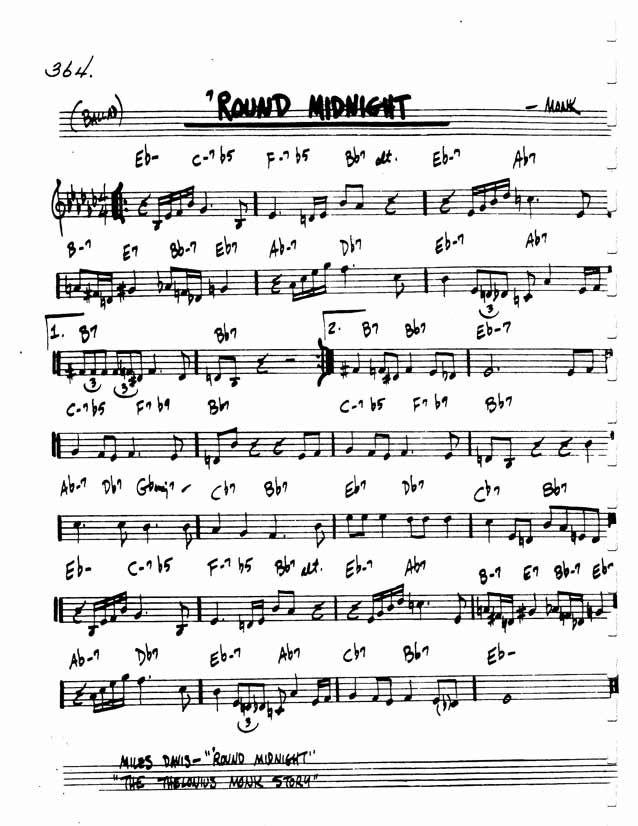 Jazz Standard Realbook Chart Round Midnight  Music Scores
