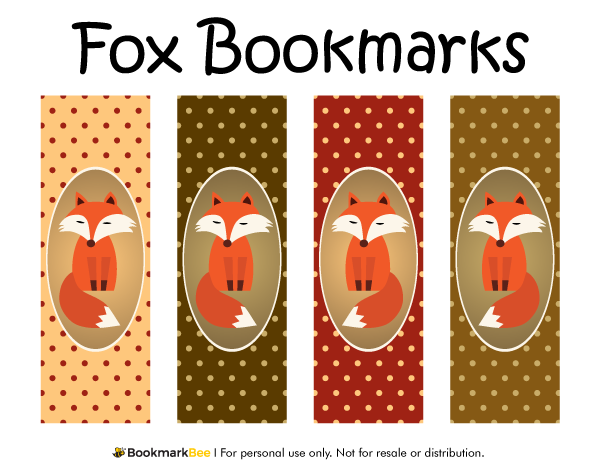 Free printable fox bookmarks each bookmark features a red fox on a polka dot background for Printable bookmarks pdf