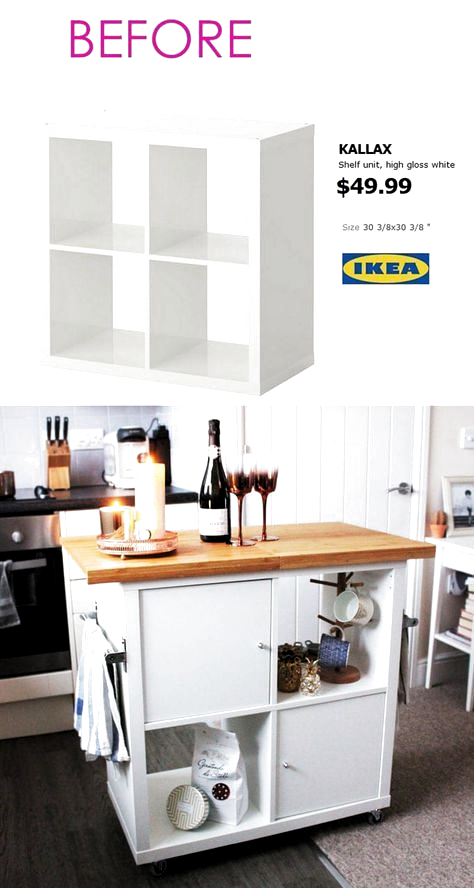 20+ Smart and Gorgeous IKEA Hacks: save time and money with functional designs and beautiful transformations. Great ideas for every room such as IKEA hack bed, desk, dressers, kitchen islands, and more! - A Piece of Rainbow #ikea #ikeahack #kitchen #kitchenideas #diy #furniture #woodworkingprojects #woodworkingplans #kitchenisland #diy #homedecor #hacks #bedroomideas #bedroom #farmhouse #farmhousedecor #storage #organizing #organization #organize