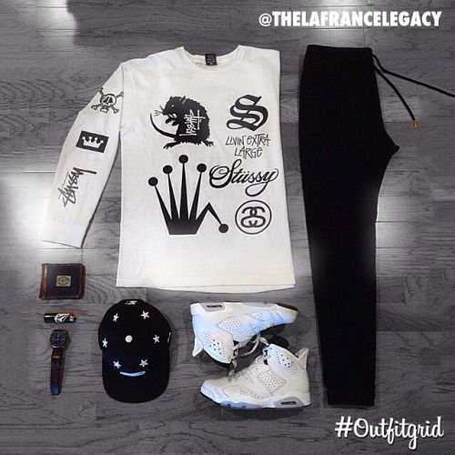 September 4th's top #outfitgrid is by @thelafrancelegacy. #Stussy #Tee & #Hat, #Publish #Joggers, and #Custom #JordanVI #flatlay #flatlayapp #flatlays @flatlayapp