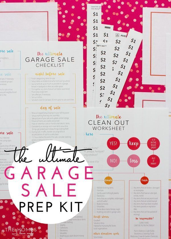 The Ultimate Garage Sale Prep Kit (a FREE printable Yard sale - free for sale signs for cars