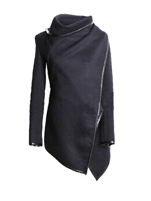 0cd6713a018 Patch PU Asymmetric Style Long Wool Coat