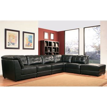 Erica 6-piece Top Grain Leather Modular Sectional - Black ...
