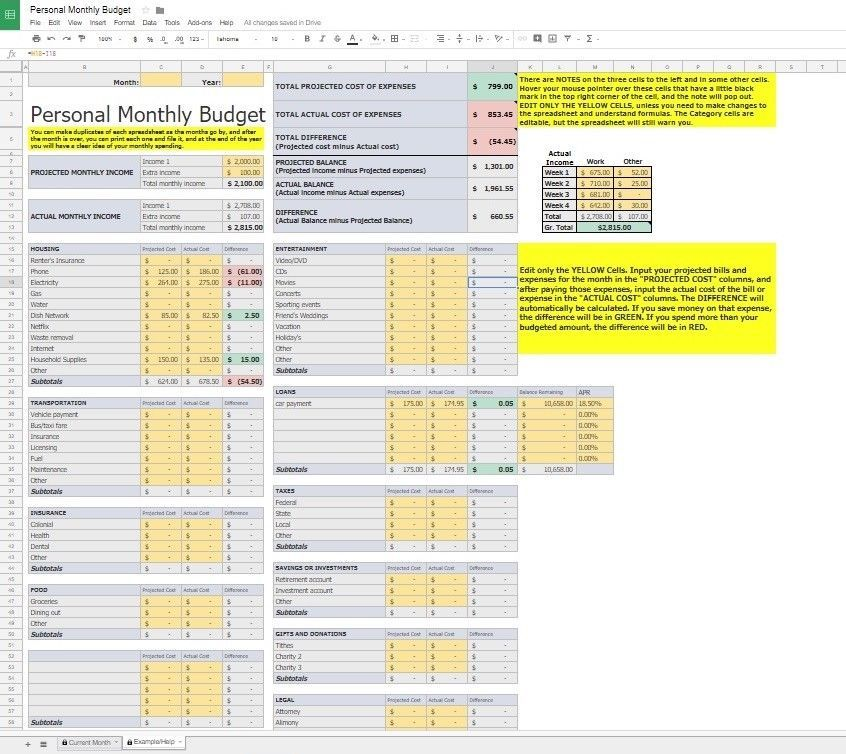 Home Budget Spreadsheet Download Template - Google Sheets - Excel
