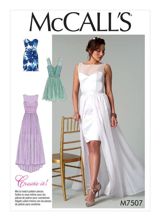 Trending Wedding Dress Pattern Evening Gown with Overskirt Train Pattern Strapless Dress Pattern Create It Pattern McCall us Sewing Pattern