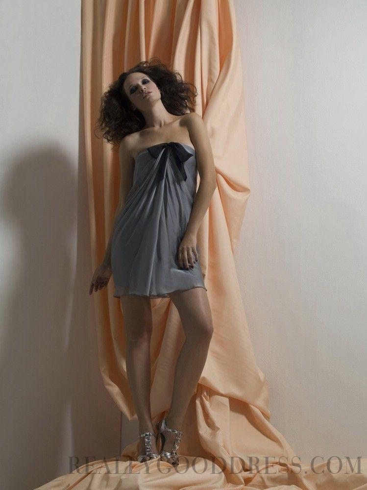 2015 Luxury Ruffles A-line Strapless Chiffon Bridesmaid Dresses