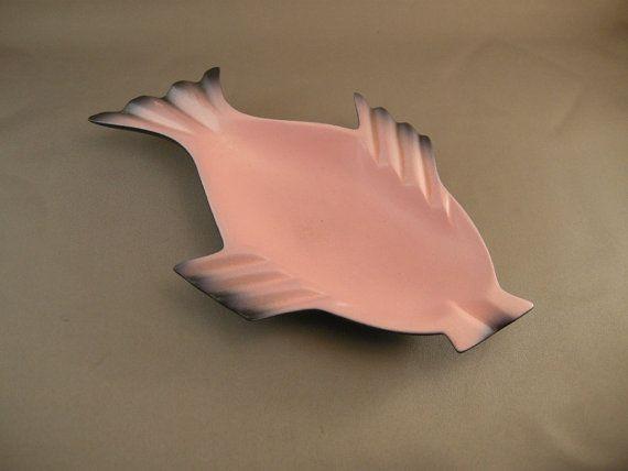 Mid Century Modern Pink Fish Ashtray by cerritorose on Etsy, $25.00