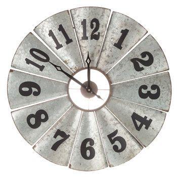 Galvanized Metal Windmill Clock Farmhouse Decor